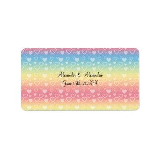Rainbow hearts wedding favors address label