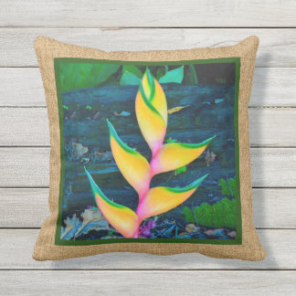 Rainbow Heliconia Hawaiian Reversible Outdoor Throw Pillow