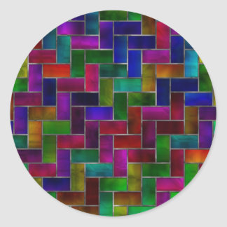 Rainbow Herringbone Brick Stained Glass Window Classic Round Sticker
