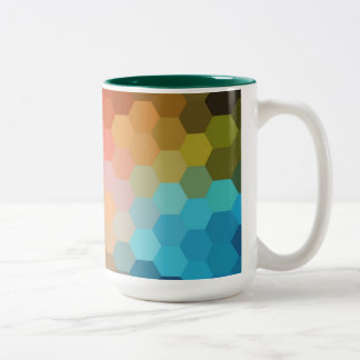 Rainbow Hexagon Chevron Pattern Two-Tone Coffee Mug