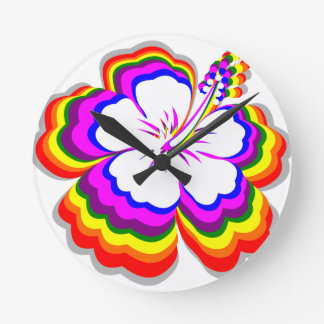 Rainbow Hibiscus design Round Clock