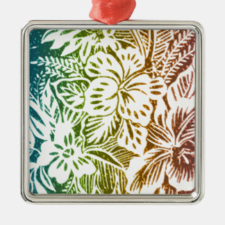 Rainbow Hibiscus Silver-Colored Square Decoration