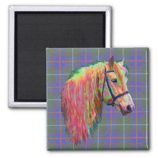 Rainbow highland pony on tartan, customize me! square magnet