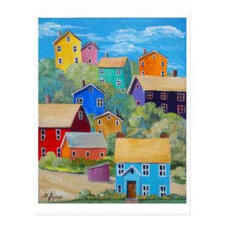 Rainbow Hillside Houses Postcard