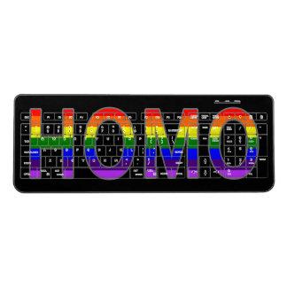 Rainbow Homo Text Art Gay Pride on Custom Color Wireless Keyboard