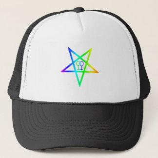 Rainbow Homosexual Female Inverted Pentagram Trucker Hat