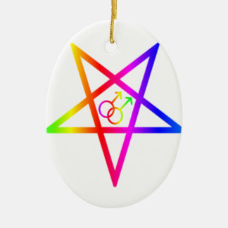 Rainbow Homosexual Male Inverted Pentagram Ceramic Ornament