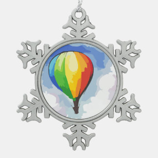 Rainbow Hot Air Balloon Pewter Snowflake Decoration