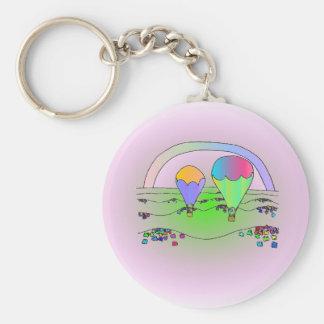 Rainbow Hot Air Balloons Basic Round Button Key Ring