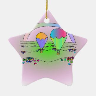 Rainbow Hot Air Balloons Ceramic Ornament
