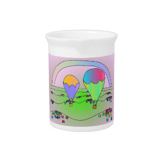 Rainbow Hot Air Balloons Drink Pitcher