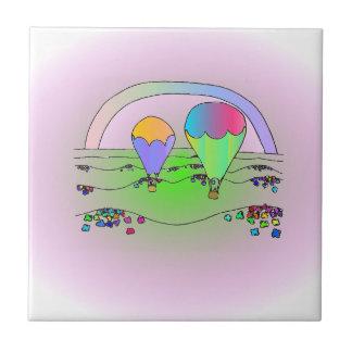 Rainbow Hot Air Balloons Tile