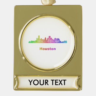 Rainbow Houston skyline Gold Plated Banner Ornament