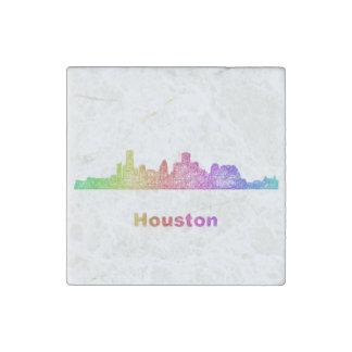 Rainbow Houston skyline Stone Magnet