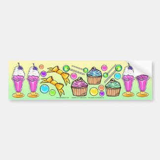 Rainbow Ice Cream Sundae Cup Cake Candy Party Bumper Sticker