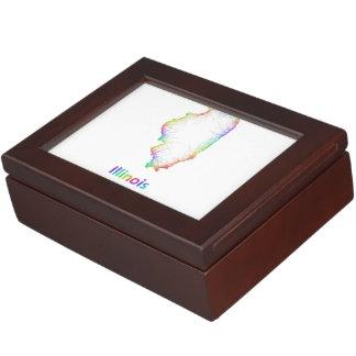Rainbow Illinois map Keepsake Box