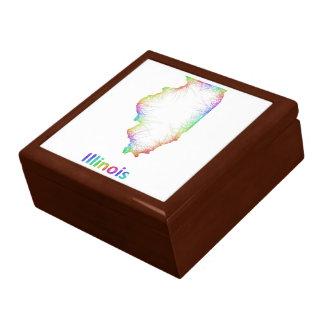 Rainbow Illinois map Large Square Gift Box