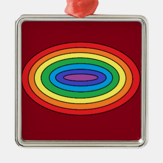 Rainbow in Oval Silver-Colored Square Decoration