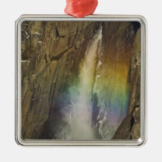 Rainbow in Upper Yosemite Falls in Yosemite Silver-Colored Square Decoration