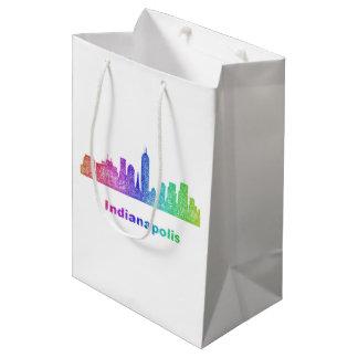 Rainbow Indianapolis skyline Medium Gift Bag