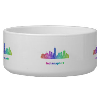 Rainbow Indianapolis skyline Pet Bowls