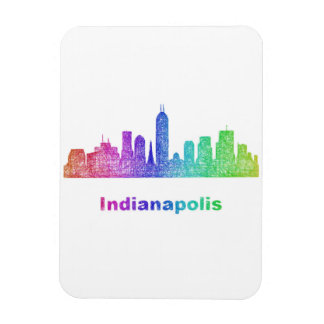 Rainbow Indianapolis skyline Rectangular Photo Magnet