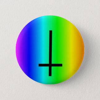 Rainbow inverted cross gear 6 cm round badge