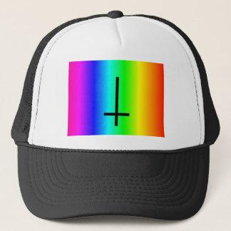 Rainbow inverted cross gear trucker hat