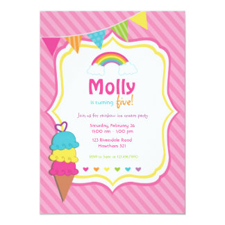 Rainbow Invitation / Ice Cream Invitation