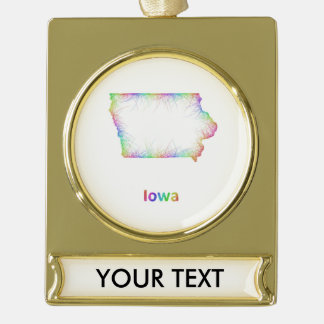 Rainbow Iowa map Gold Plated Banner Ornament