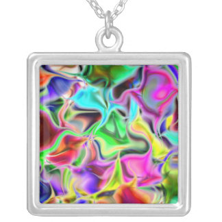 Rainbow iridescence silver plated necklace