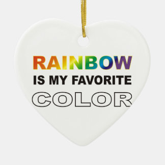 Rainbow is my favorite color ceramic heart decoration