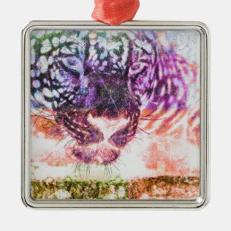 Rainbow Jaguar Cat Design Metal Ornament