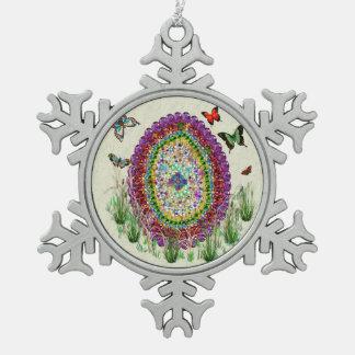 Rainbow Jewels Easter Egg Pewter Snowflake Decoration