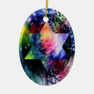 Rainbow Jewish Star Ceramic Oval Decoration