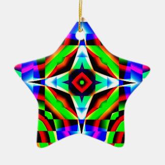 Rainbow Kaleidoscope Ceramic Star Decoration