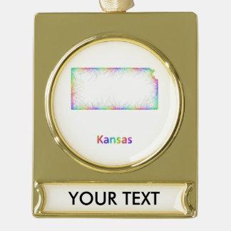 Rainbow Kansas map Gold Plated Banner Ornament