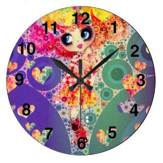 Rainbow Kawaii Girl PinkyP Harajuku style Clock
