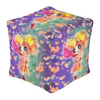 Rainbow Kawaii Girl PinkyP Harajuku style Cube Pouffe