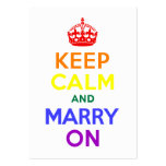 Rainbow Keep Calm and Marry On Pack Of Chubby Business Cards