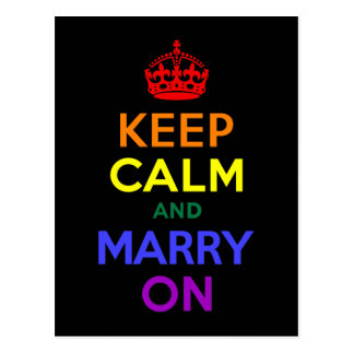 Rainbow Keep Calm and Marry On Postcard