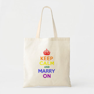 Rainbow Keep Calm and Marry On Budget Tote Bag