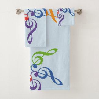 Rainbow Key Sun Music Bath Towel Set