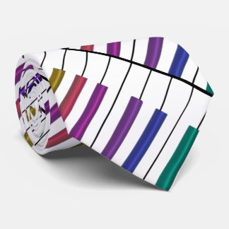Rainbow Keyboard Diagonal Wrap Music Tie