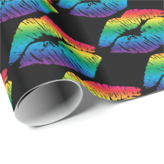 Rainbow Kisses on Black Wrapping Paper