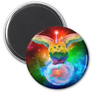 Rainbow Kitten Unicorn Gold  Fish Space Buddies Magnet