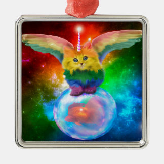 Rainbow Kitten Unicorn Gold  Fish Space Buddies Metal Ornament