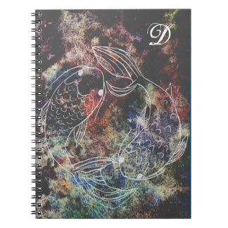 Rainbow Koi Monogram Spiral Notebook