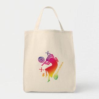 Rainbow Kokopelli Organic Tote Bag