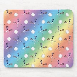 Rainbow lacrosse pattern mouse pads